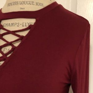 Rock & Republic dark red laced front long sleeve
